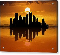 Pittsburgh Skyline Sunset Reflection Acrylic Print by Dan Sproul