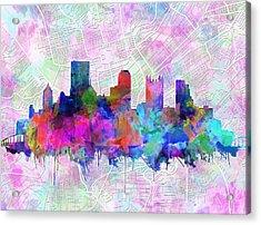 Pittsburgh Skyline Watercolor Acrylic Print