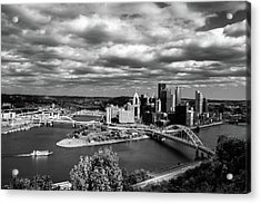 Pittsburgh Skyline With Boat Acrylic Print by Michelle Joseph-Long