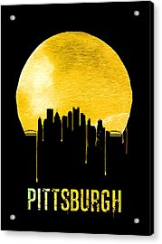 Pittsburgh Skyline Yellow Acrylic Print by Naxart Studio