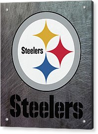 Pittsburgh Steelers On An Abraded Steel Texture Acrylic Print