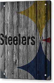 Pittsburgh Steelers Wood Fence Acrylic Print by Joe Hamilton
