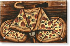Acrylic Print featuring the painting Tommervik Pizza Bicycle Art Print by Tommervik