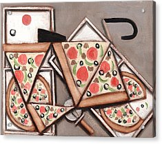 Acrylic Print featuring the painting Tommervik Pizza Delivery Bicycle Art Print by Tommervik