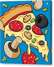 Pizza On Blue Acrylic Print
