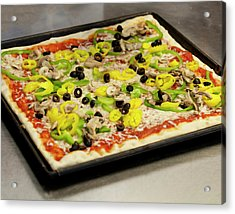 Pizza With Peppers Acrylic Print