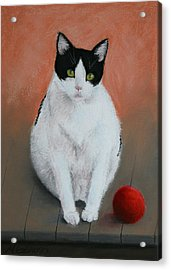 Pj And The Ball Acrylic Print by Marna Edwards Flavell