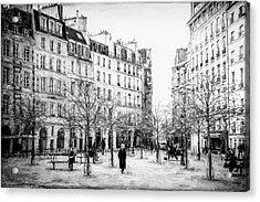 Place Dauphine Paris Bw Grunge Acrylic Print