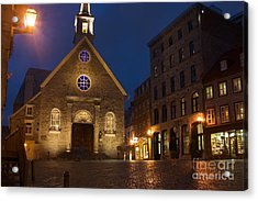 Place Royale And Notre-dame-des-victoires Church At A Rainy Evening Acrylic Print by Hideaki Sakurai