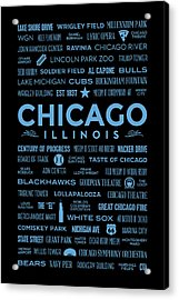Places Of Chicago Blue On Black Acrylic Print