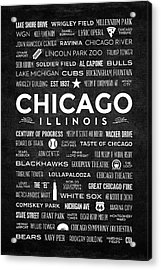 Places Of Chicago On Black Chalkboard Acrylic Print