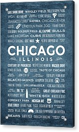 Places Of Chicago On Blue Chalkboard Acrylic Print