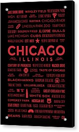 Places Of Chicago On Red On Black Acrylic Print