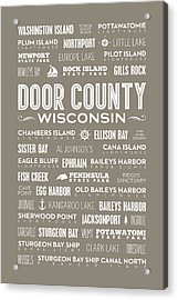 Places Of Door County On Brown Acrylic Print