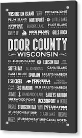 Places Of Door County On Gray Acrylic Print
