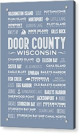 Places Of Door County On Light Blue Acrylic Print