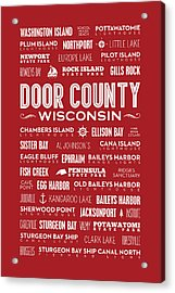 Places Of Door County On Red Acrylic Print