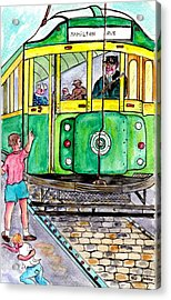 Placing Bottle Caps On The Trolley Tracks Acrylic Print