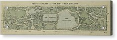 Acrylic Print featuring the photograph Plan Of Central Park City Of New York 1860 by Duncan Pearson