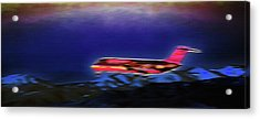 Plane Landing At Airport - The Red Eye Flight Acrylic Print by Steve Ohlsen