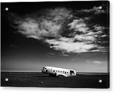 Acrylic Print featuring the photograph Plane Wreck Black And White Iceland by Matthias Hauser