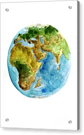 Planet Earth Watercolor Poster Acrylic Print by Joanna Szmerdt