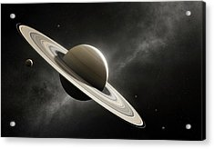 Planet Saturn With Major Moons Acrylic Print by Johan Swanepoel