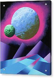 Planet X Abstract Landscape Painting Acrylic Print by Mark Webster