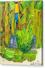 Acrylic Print featuring the painting Plantain Farmer's Pride by Nicole Jean-louis