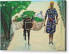 Acrylic Print featuring the painting Plantain Merchant Woman by Nicole Jean-Louis