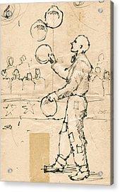 Plate Juggler Acrylic Print by H James Hoff