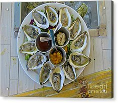 Plate Of Oysters Acrylic Print by John Malone