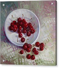 Plate With Cherries Acrylic Print