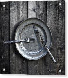 Plate With Silverware Acrylic Print