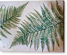 Platter With Ferns Acrylic Print