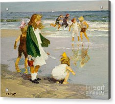 Play In The Surf Acrylic Print by Edward Henry Potthast