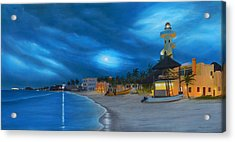 Playa De Noche Acrylic Print by Angel Ortiz