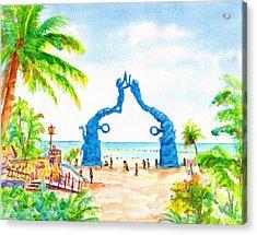 Playa Del Carmen Portal Maya Statue Acrylic Print