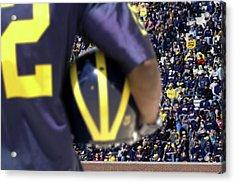 Player Cradling Helmet In Stadium Acrylic Print