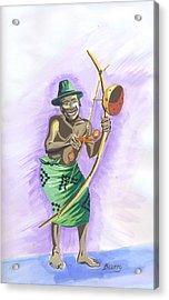 Acrylic Print featuring the painting Player Umuduri From Rwanda by Emmanuel Baliyanga