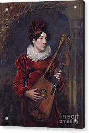 Playing A Harp Lute Acrylic Print by Celestial Images