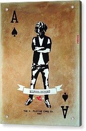 Street Art Painting, Stencil-graffiti Style, The V. Playing Card - Urban Figure Acrylic Print