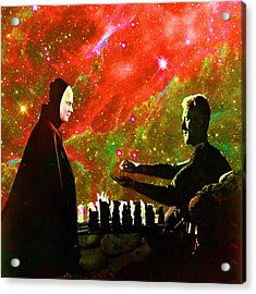 Playing Chess With Death Acrylic Print by Matthew Lacey
