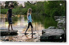 Playing In The Riffles At Forest Park Acrylic Print by Garry McMichael