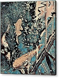 Acrylic Print featuring the digital art Playing It Koi by Mindy Newman