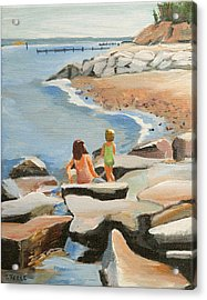 Playing On The Jetties Acrylic Print