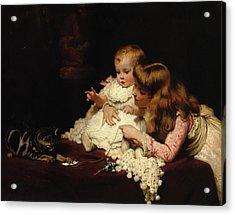 Playmates Acrylic Print by Arthur John Elsley