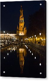 Plaza De Espana At Night - Seville 6 Acrylic Print by Andrea Mazzocchetti
