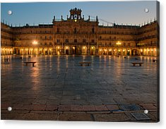 Plaza Mayor In Salamanca Acrylic Print by Amber Lea Starfire