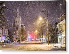 Pleasant Street Snow Acrylic Print by Benjamin Williamson